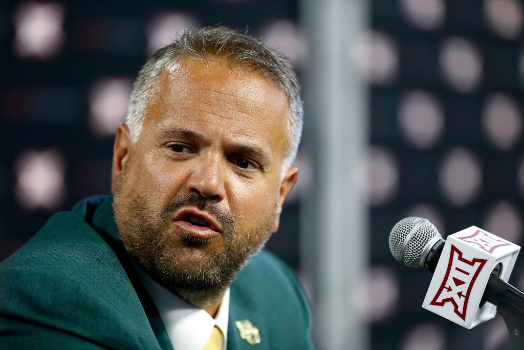 Baylor head football coach Matt Rhule talks with the media in a breakout session during Big 12 Media Days at Ford Center at The Star in Frisco, Texas, Tuesday, July 17, 2018. (Jae S. Lee/The Dallas Morning News)