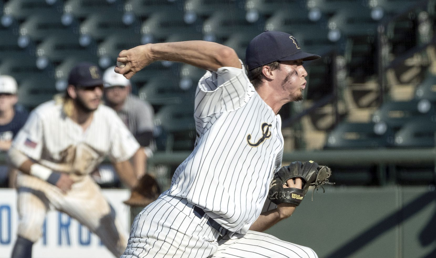 Keller Eric Hammond, (27), pitches against Houston Strake Jesuit during the sixth inning of the 2021 UIL 6A state baseball semifinals held, Friday, June 11, 2021, in Round Rock, Texas.     Keller defeated Strake Jesuit 7-1. (Rodolfo Gonzalez/Special Contributor)
