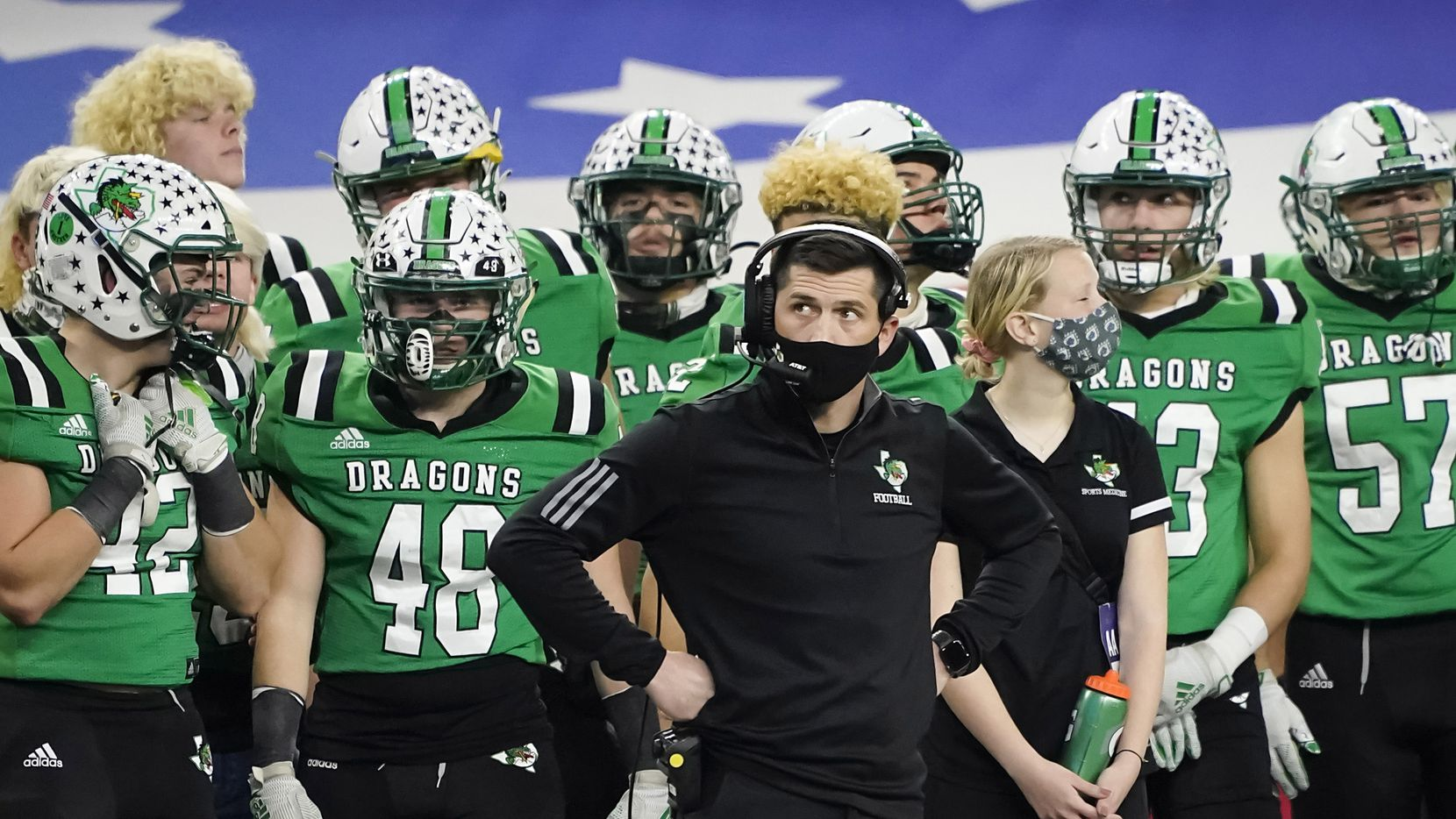 Southlake Carroll head coach Riley Dodge looks on from the sidelines during the second quarter of the Class 6A Division I state football championship game against Austin Westlake at AT&T Stadium on Saturday, Jan. 16, 2021, in Arlington, Texas.