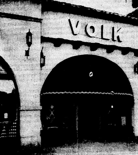 The exterior of the Volk Bros. Co. store in Highland Park Village on Aug. 30, 1936.