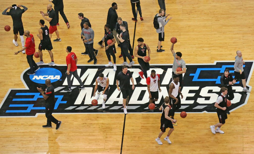 The Texas Tech Red Raiders team takes the floor during NCAA Tournament open practices held in preparation for Thursday's basketball tourney games, held at the American Airlines Center in Dallas on Wednesday, March 14, 2018.