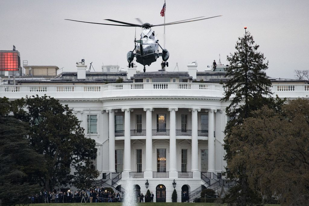 Marine One, with President Donald Trump on board, prepared to land on the South Lawn of the White House on Sunday.
