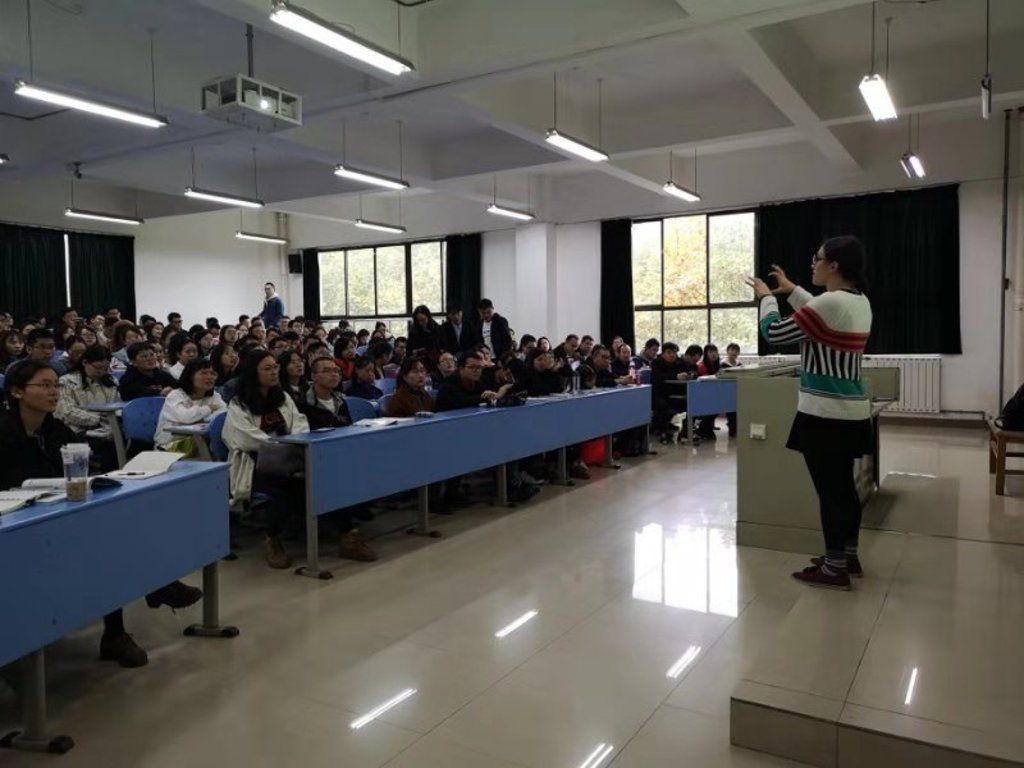 Peace Corps Volunteer Leora Kurtzer teaches oral English at a university in Guiyang, capital of China's Guizhou province, in October 2018.