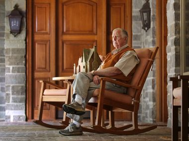 Dallas businessman and philanthropist T. Boone Pickens was pictured outside living quarters near The Lodge, on May 31, 2017.  Pickens acquired 68,0000 acres along the Canadian River in Roberts County, Texas, where he turned the Mesa Vista Ranch into a habitat for quail along 22 miles of Ogallala Aquifer-fed lakes and marshes.