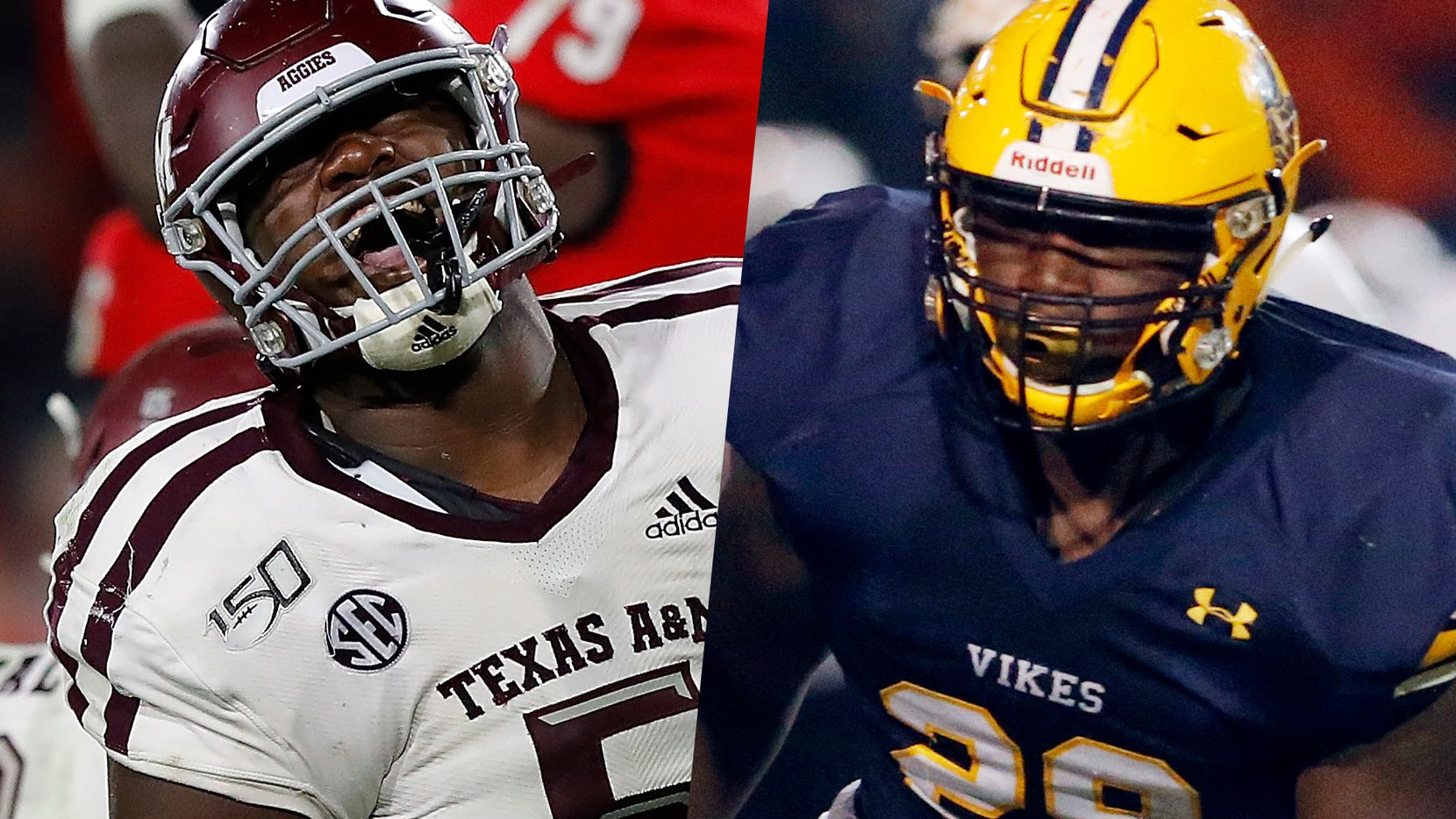 Bobby Brown with Texas A&M in 2019 (left) and with Arlington Lamar in 2017.