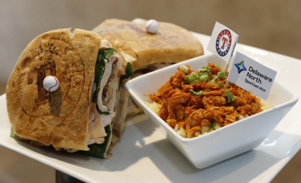 The Pudge''s Plate is a hot pressed panini stuffed with turkey breast, turkey patty, fresh spinach, provolone cheese and Sriracha aioli. Located in the Captain Morgan Club.