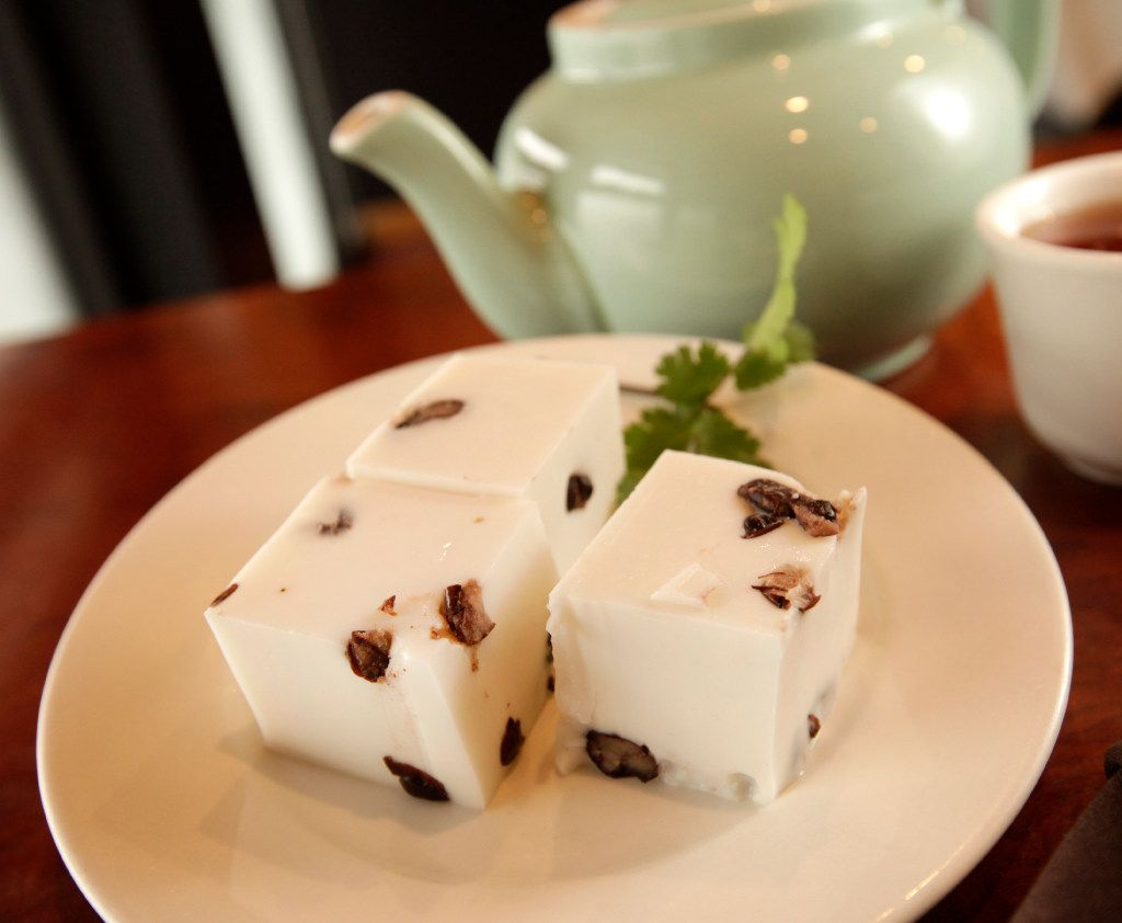 Coconut pudding at J.S. Chen's. Similar to red bean jellies, they're softer and more coconutty, but also flecked with red beans.