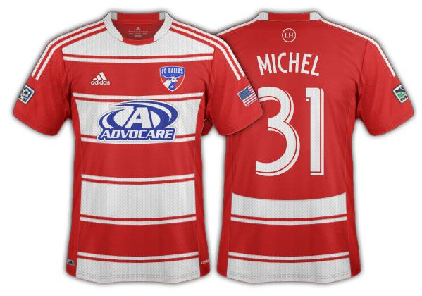 2012-13 FC Dallas red and white hoops with a thin accent stripe primary.