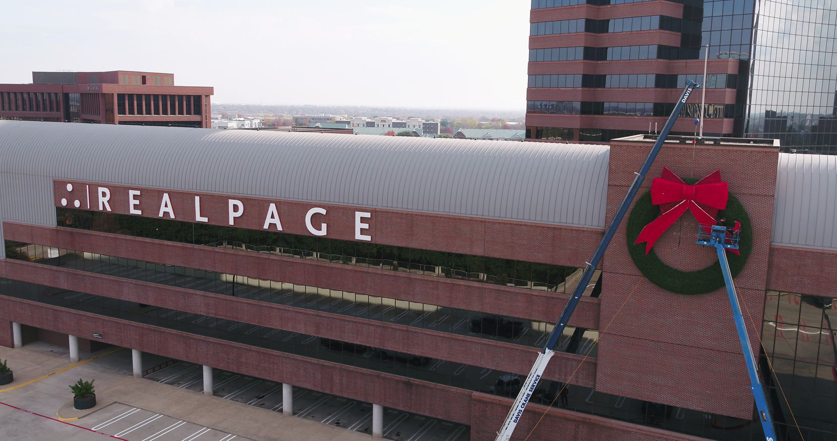 RealPage revived the one ton wreaths that Nortel Networks used to mount on the building.
