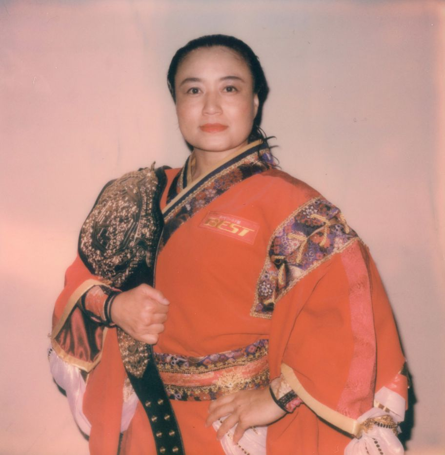 Professional wrestler Meiko Satomura poses for a portrait by Michael Watson. The portrait appears in the new, glossy art magazine about wrestling culture, Orange Crush, a passion project edited by art adviser and fan Adam Abdalla.