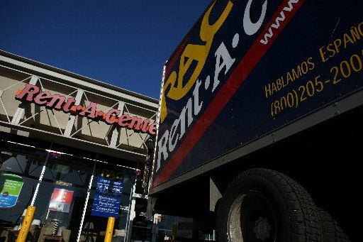 A truck parked outside Rent-A-Center store in Dallas.