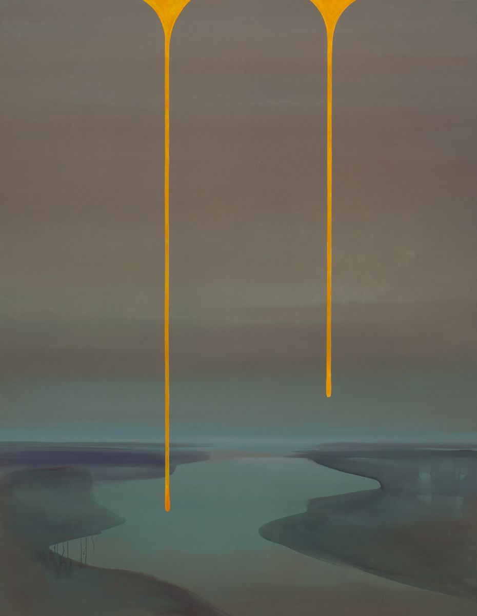 "The most jarring moments of color in ""Dreamline"" are the twin ""tears"" that fall from the top of each painting, such as the neon orange tears in ""River."""