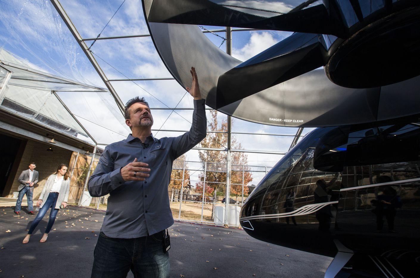 Uber is working with several companies that are developing air taxis, including Fort Worth-based helicopter maker Bell. Scott Drennan, vice president of innovation at Bell, showed off a prototype of a Bell Nexus air taxi during the Texas UP Summit. (Ashley Landis/The Dallas Morning News)