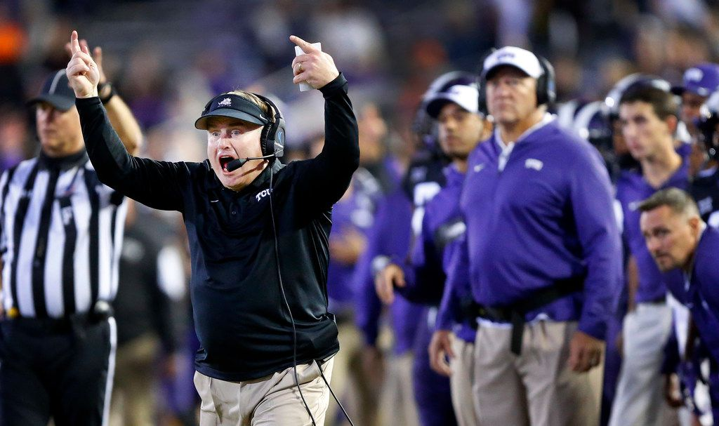 TCU Horned Frogs head coach Gary Patterson reacts to his teams play in the final minute of their win over the Oklahoma State Cowboys at Amon G. Carter Stadium in Fort Worth, Texas, Saturday, November 24, 2018. The Frogs hung onto win, 31-24. (Tom Fox/The Dallas Morning News)
