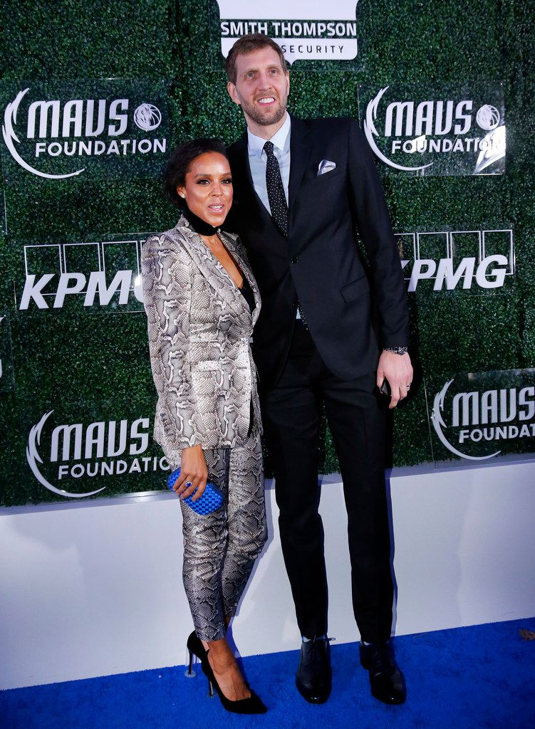 "FILE - Dirk and Jessica Nowitzki arrive on the ""blue carpet"" for the Mavs Ball at American Airlines Center in Dallas on Friday, March 1, 2019. (Tom Fox/The Dallas Morning News)"