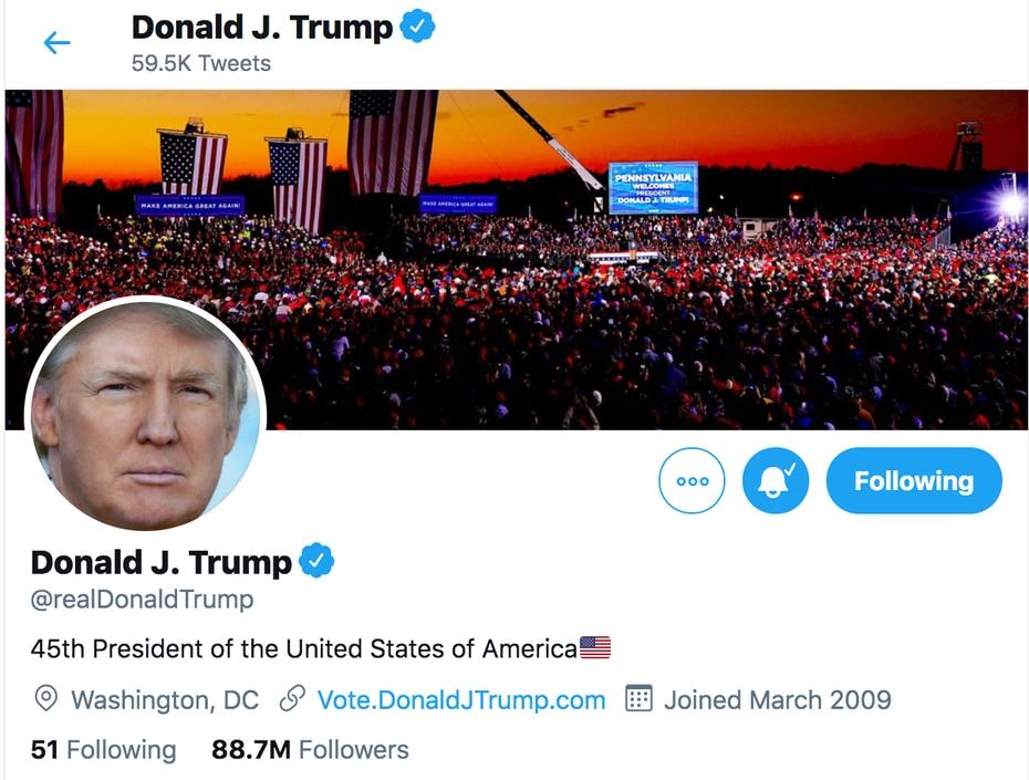 La cuenta de Twitter del presidente Donald Trump fue suspendida de forma permanente. Tenía 88.7 millones de seguidores.