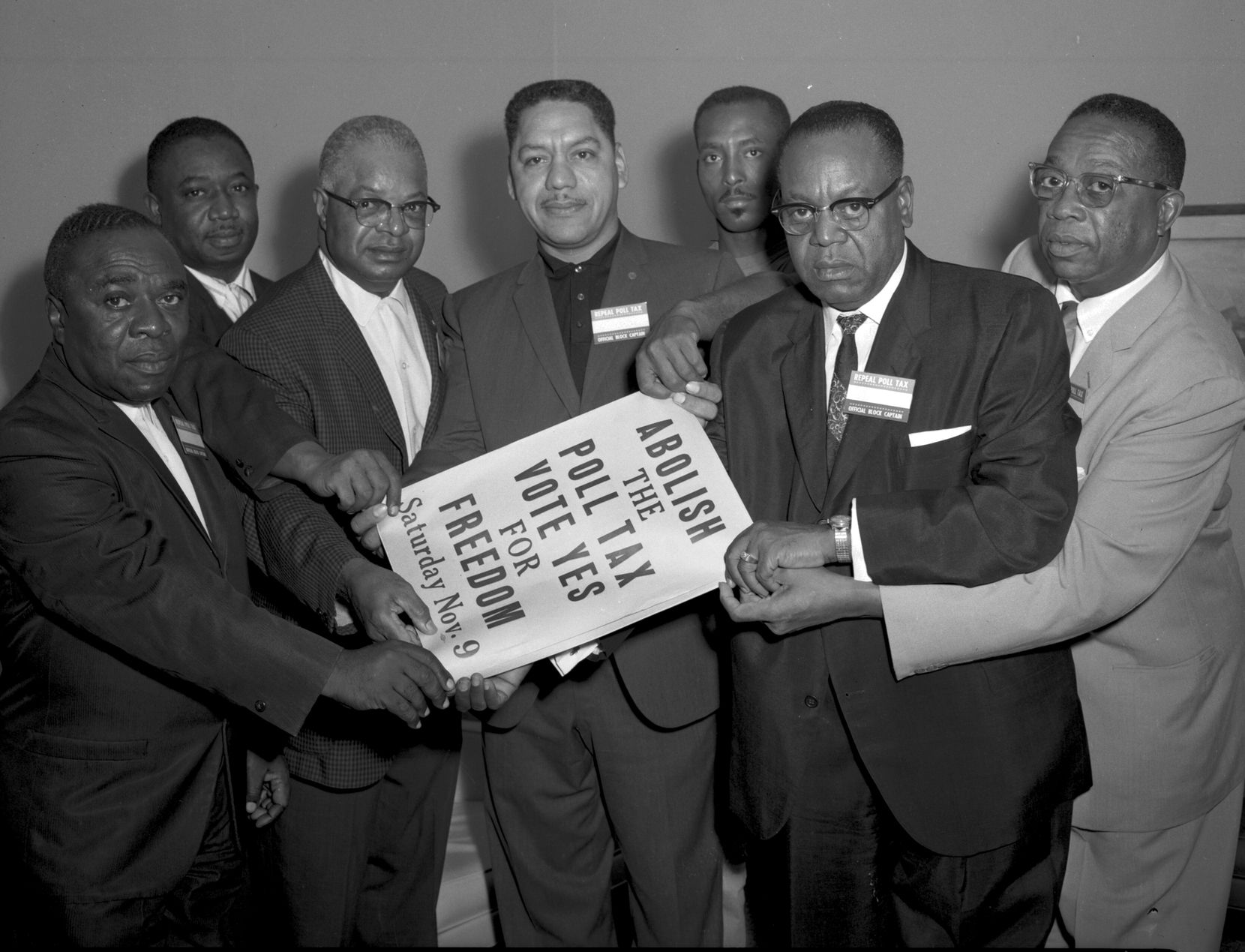 A. Maceo Smith (third from left), an Alpha Phi Alpha member, played a large role in the civil rights movement. Pictured from left with him are Walter R. McMillan, Roosevelt Johnson, Pancho Medrano, Harold E. Holly, the Rev. G.T. Thomas, and R.R. Revis, all of whom fought against the poll tax in 1963.