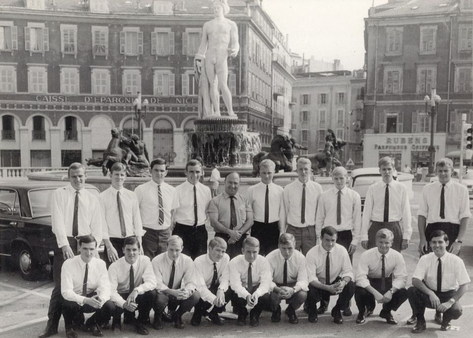 1967 - Members of the Dallas Tornado professional soccer team shown in Nice, France during their 1967-68 barnstorming tour of multiple countries. FRONT ROW: Mike Renshaw (4th from left); Brian Harvey (5th from left); Bill Crosbie (2nd from right); Gene Wilson (far right).   BACK ROW: Dave Moorcroft (far left); Jay Moore (3rd from left); Bob Kap (center, coach); Frank Randolf (far right).