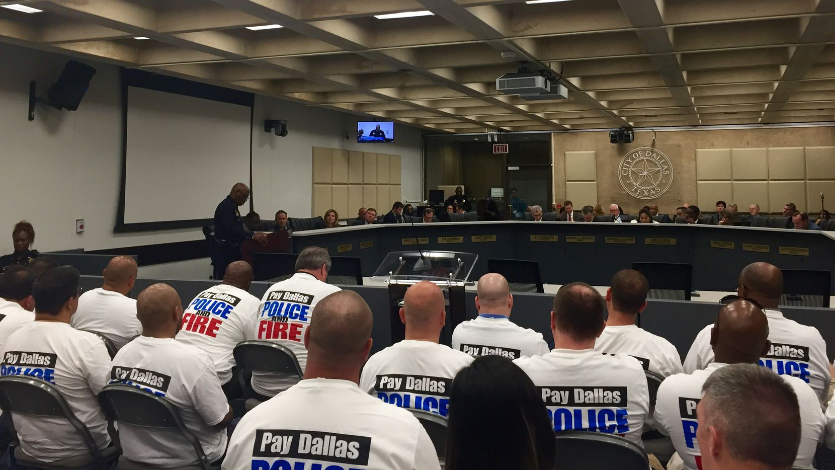 Dallas police Chief David Brown updated the Dallas City Council on the investigation of the downtown ambush July 7 that killed five police officers and wounded seven others. The briefing came before a budget discussion on hiring more officers and giving raises to police officers and firefighters.