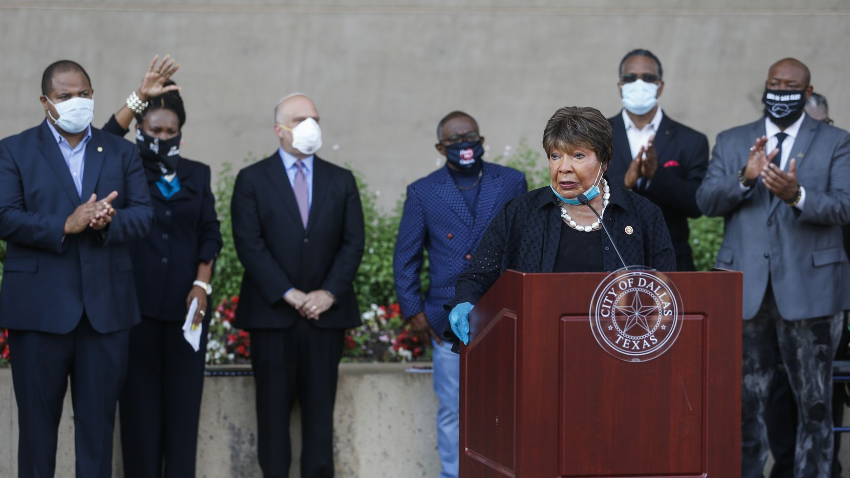 U.S. Rep. Eddie Bernice Johnson speaks during a memorial service for George Floyd on Friday, June 5, 2020 at City Hall in Dallas.