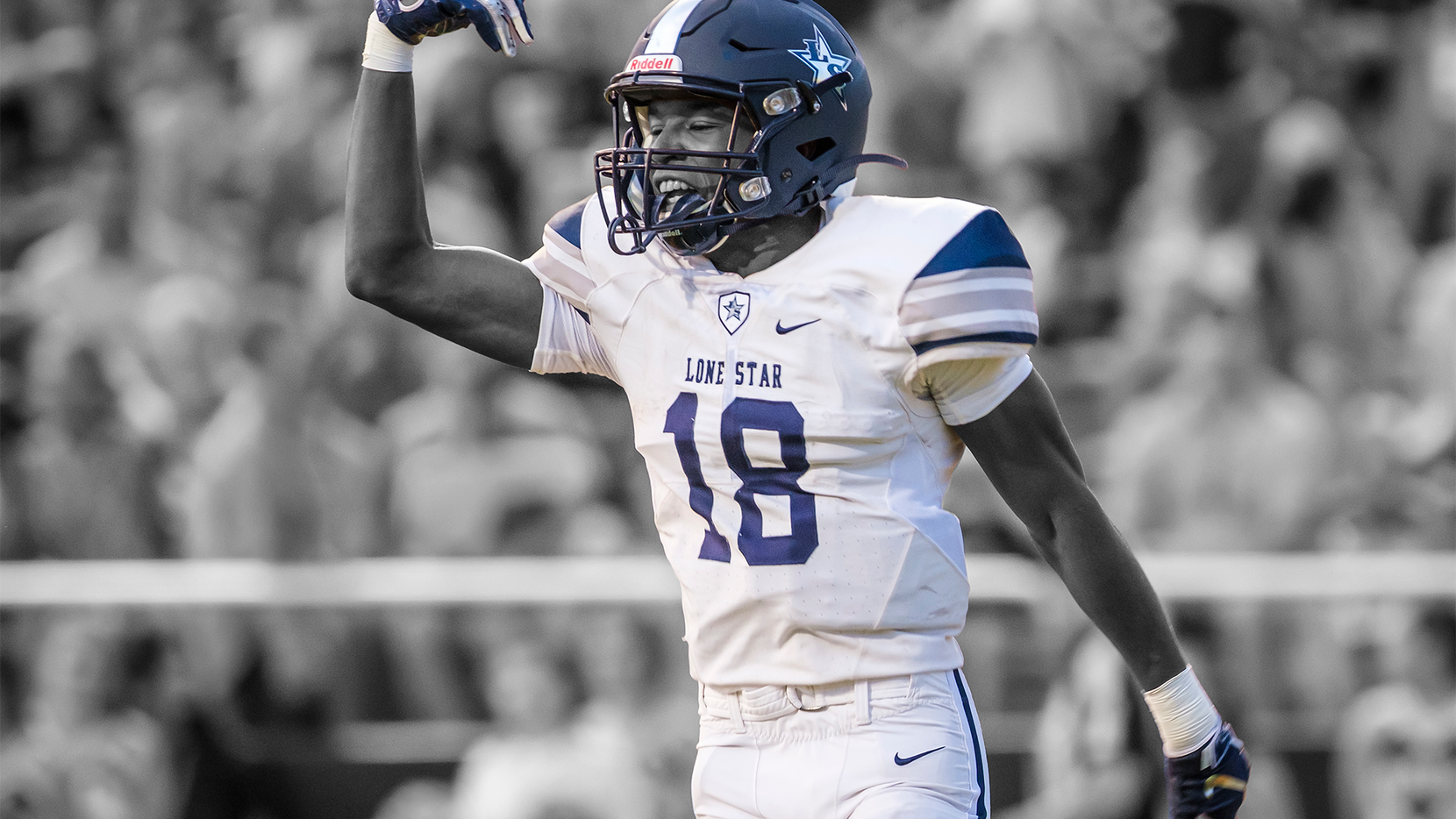 Frisco Lone Star wide receiver Marvin Mims celebrates after scoring on a touchdown reception on the first play from scrimmage during a high school football game against Highland Park at Highlander Stadium on Friday, Sept. 13, 2019, in Dallas.