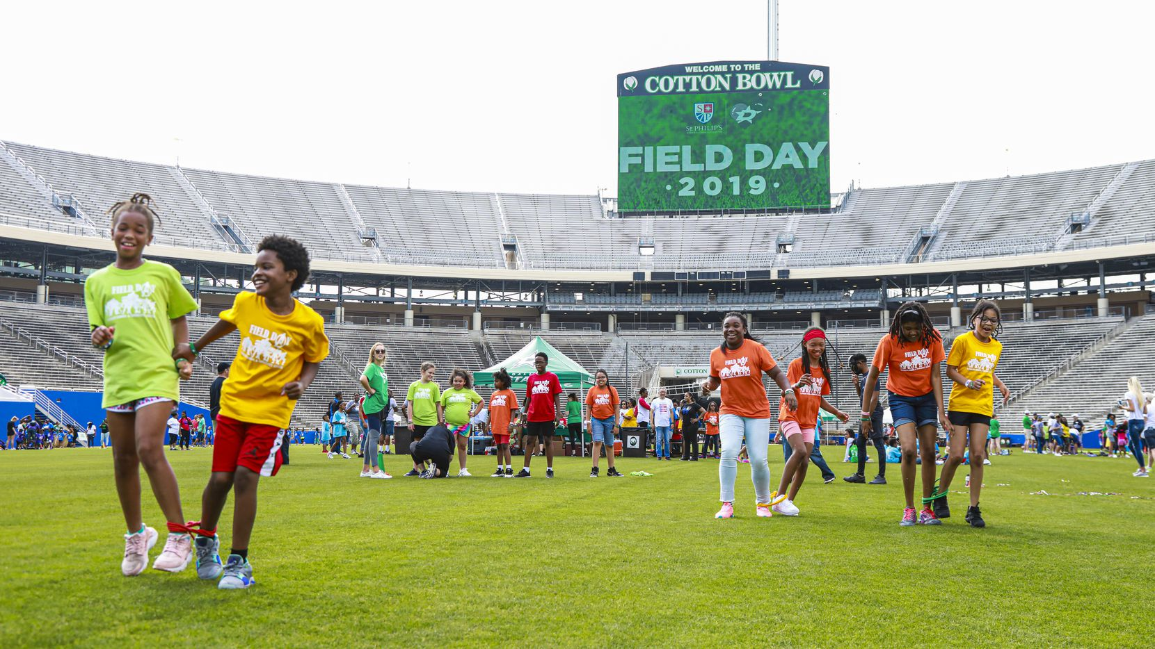 Students competed in 2019 as the Dallas Stars Foundation hosted the annual Field Day for St. Philip's School and Community Center at the Cotton Bowl. The event was part of the team's Legacy Project for the 2020 Bridgestone NHL Winter Classic.