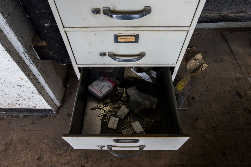 A collection of unused keys lays in a file cabinet drawer of a fifth floor maintenance area at the 508 Young Street location of The Dallas Morning News on Friday, December 1, 2017. The Dallas Morning News headquarters recently moved to 1954 Commerce Street. (Ashley Landis/The Dallas Morning News)