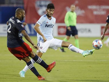 FC Dallas forward Ricardo Pepi (16) attempts to block the pass by New England Revolution defender Andrew Farrell (2) during the first half as FC Dallas hosted the New England Revolution at Toyota Stadium in Frisco on Sunday, June 27, 2021.