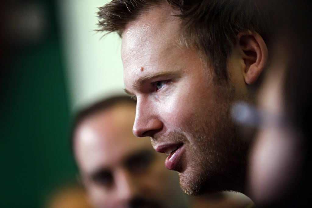 Dallas Stars goalie Kari Lehtonen talks to media as the team cleaned out their lockers at Dr Pepper Arena Friday, May 13, 2016 in Frisco, Texas. The Stars were eliminated from the Stanley Cup playoff series Wednesday following a Game 7 loss to the St. Louis Blues. (G.J. McCarthy/The Dallas Morning News)