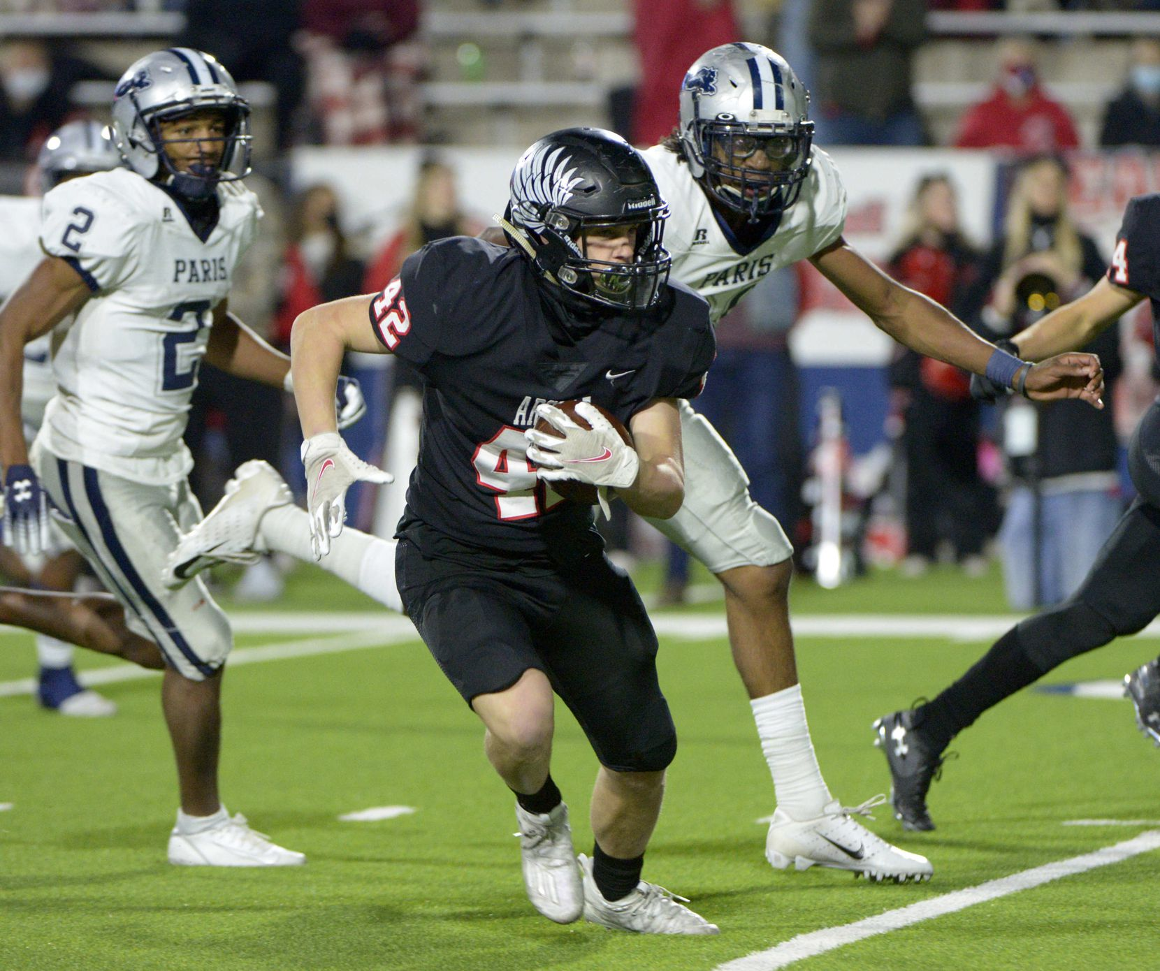during a Class 4A Division I Region II final playoff football game between Paris and Argyle, Saturday, Dec. 5, 2020, in McKinney,  Texas. (Matt Strasen/Special Contributor)