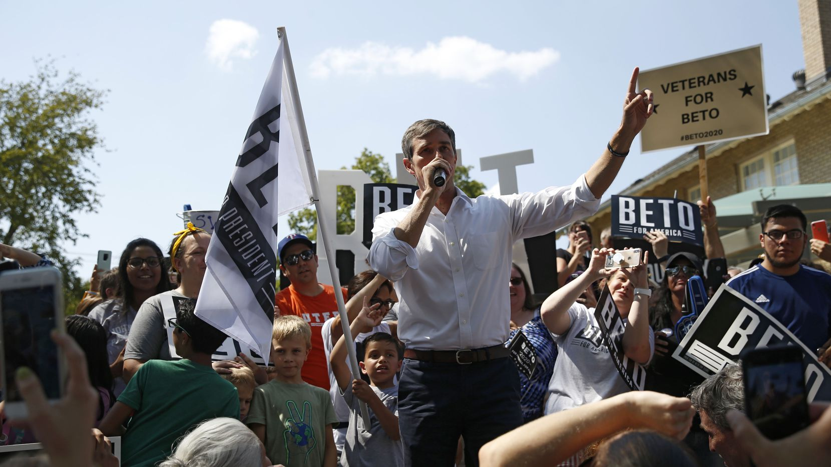 Democratic presidential candidate Beto O'Rourke spoke at a campaign event at Haggard Park in Plano last month.
