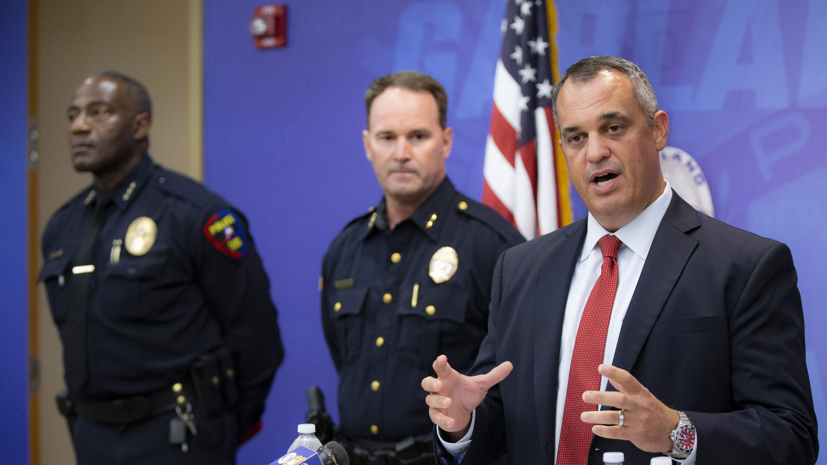 Dallas FBI Special Agent in Charge Matthew DeSarno speaks during a news conference at the Garland Police headquarters Monday.