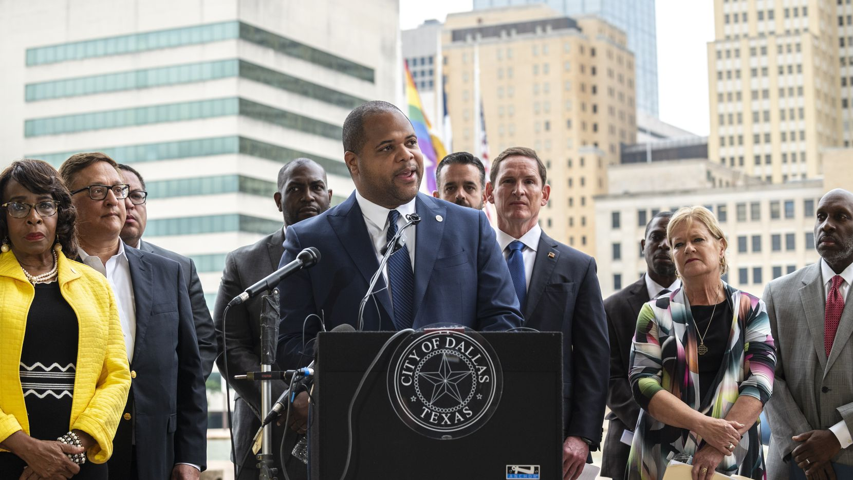 Dallas Mayor Eric Johnson conducts a press conference announcing a collaboration with Metro Dallas Homeless Alliance, to house over 2,600 homeless individuals. He is pictured outside of Dallas City Hall, on Wednesday morning, June 23, 2021. Metro Dallas Homeless Alliance, the lead agency in North Texas' homeless efforts, joins the City of Dallas, Dallas County, Mesquite, the Homeless Collaborative and the Dallas Housing Authority, behind a $70 million commitment to house over 2,600 individuals.
