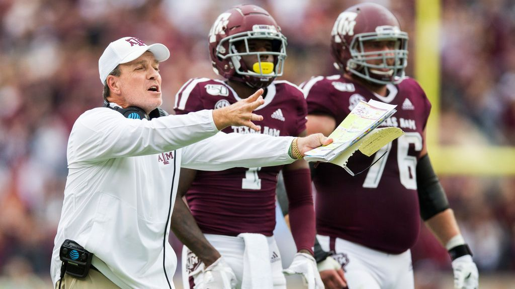 Texas A&M Aggies head coach Jimbo Fisher disputes a call during the first quarter of a college football game between Texas A&M and Alabama on Saturday, October 12, 2019 at Kyle Field in College Station, Texas.