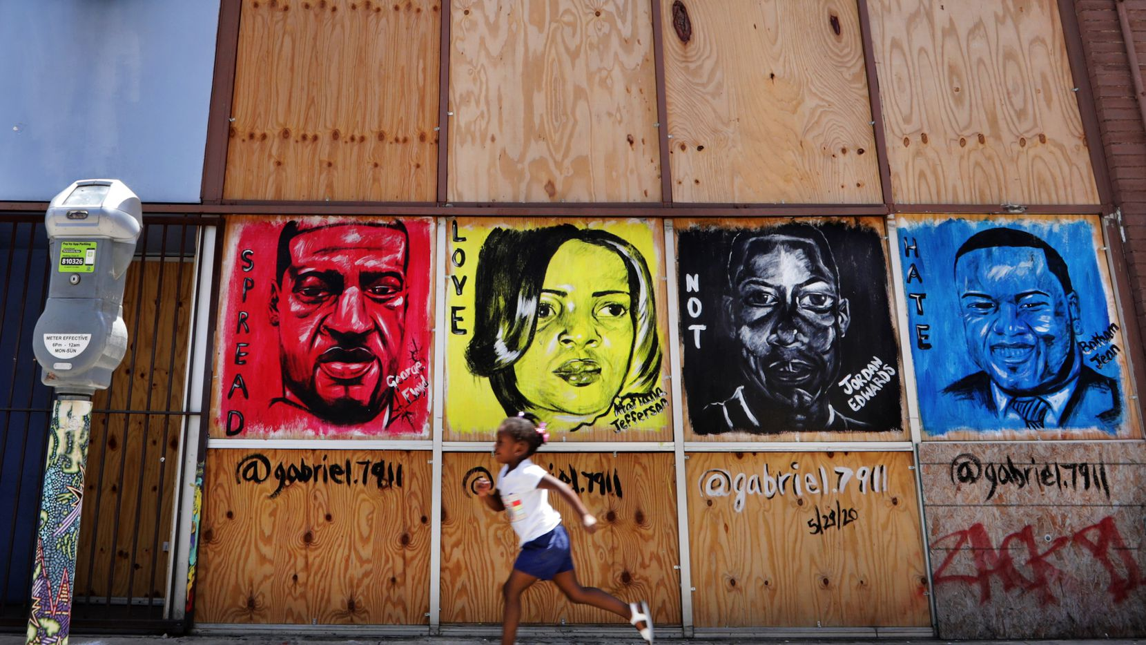 A mural painted in Deep Ellum days after George Floyd's death May 25 depicts, from left, Floyd, Atatiana Jefferson, Jordan Edwards and Botham Jean. Jefferson Edwards and Jean were killed by North Texas police officers.