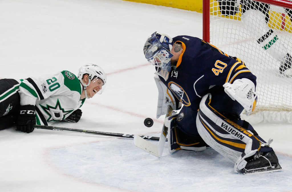 Buffalo Sabres goalie Robin Lehner (40) makes a save on Dallas Stars forward Cody Eakin (20) during the second period of an NHL hockey game, Monday, Jan. 16, 2017, in Buffalo, N.Y. (AP Photo/Jeffrey T. Barnes)
