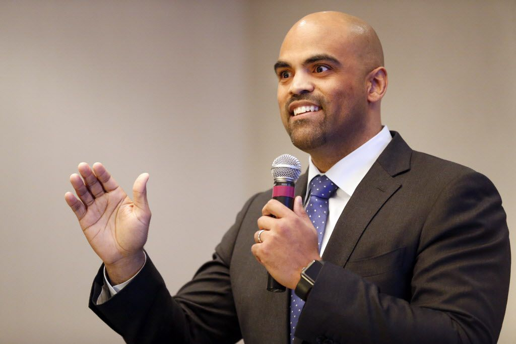Colin Allred speaks during a Democratic primary forum Jan. 28, 2018.