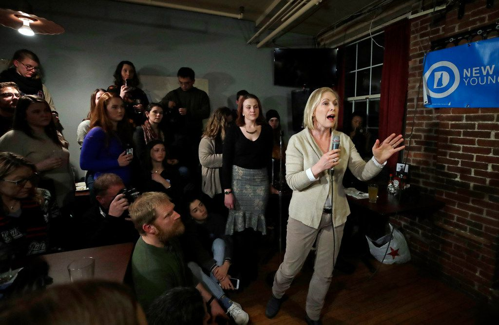 Sen. Kirsten Gillibrand, D-N.Y., spoke at an event organized by the Young Democrats of New Hampshire at Stark Brewing Co. in Manchester on Feb. 1, 2019. It was her first trip to New Hampshire as a presidential prospect.