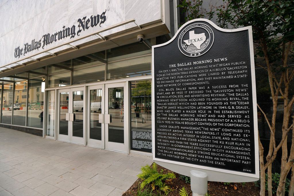 The Dallas Morning News historical marker was placed near the front door of new The Dallas Morning News location on Commerce St. in downtown Dallas, Tuesday, May 8, 2018.  The markers were moved from the old location at 508 Young St. (Tom Fox/The Dallas Morning News)