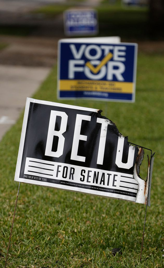 Beto O'Rourke and Colin Allred signs were burned Tuesday night in Richardson.