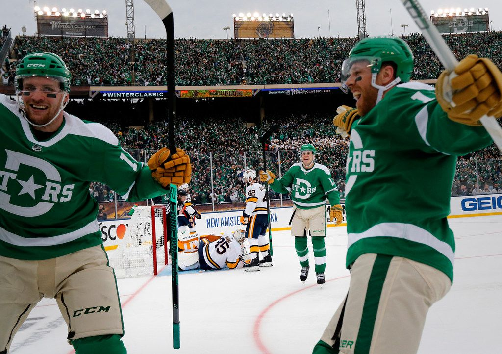 Nashville Predators goaltender Pekka Rinne (35) lies in the crease after being scored on by Dallas Stars defenseman Andrej Sekera (5) during the third period of the NHL Winter Classic hockey game at the Cotton Bowl in Dallas, Wednesday, January 1, 2020. The Stars came back to win, 4-2. (Tom Fox/The Dallas Morning News)