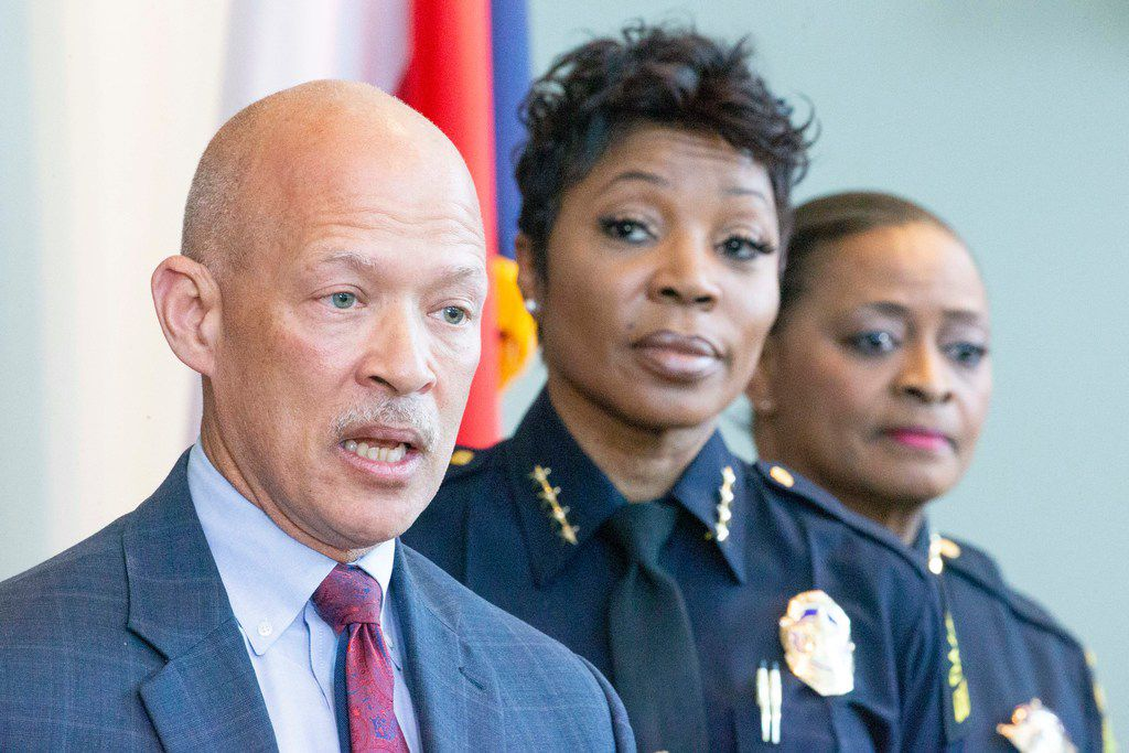 Dallas County District Attorney John Creuzot, appearing with Dallas Police Chief U. Renee Hall (center) and Sheriff Marian Brown, says his office has presented 50 officer-involved shootings to grand juries — and only one resulted in an indictment.