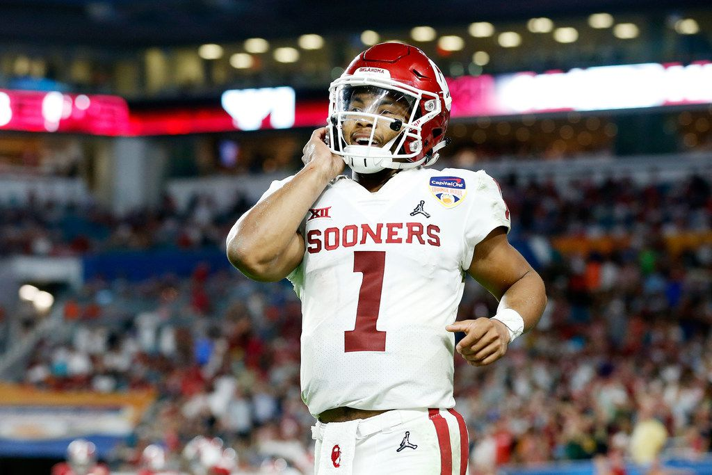 MIAMI, FL - DECEMBER 29:  Kyler Murray #1 of the Oklahoma Sooners reacts after the play in the third quarter during the College Football Playoff Semifinal against the Alabama Crimson Tide at the Capital One Orange Bowl at Hard Rock Stadium on December 29, 2018 in Miami, Florida.  (Photo by Michael Reaves/Getty Images)