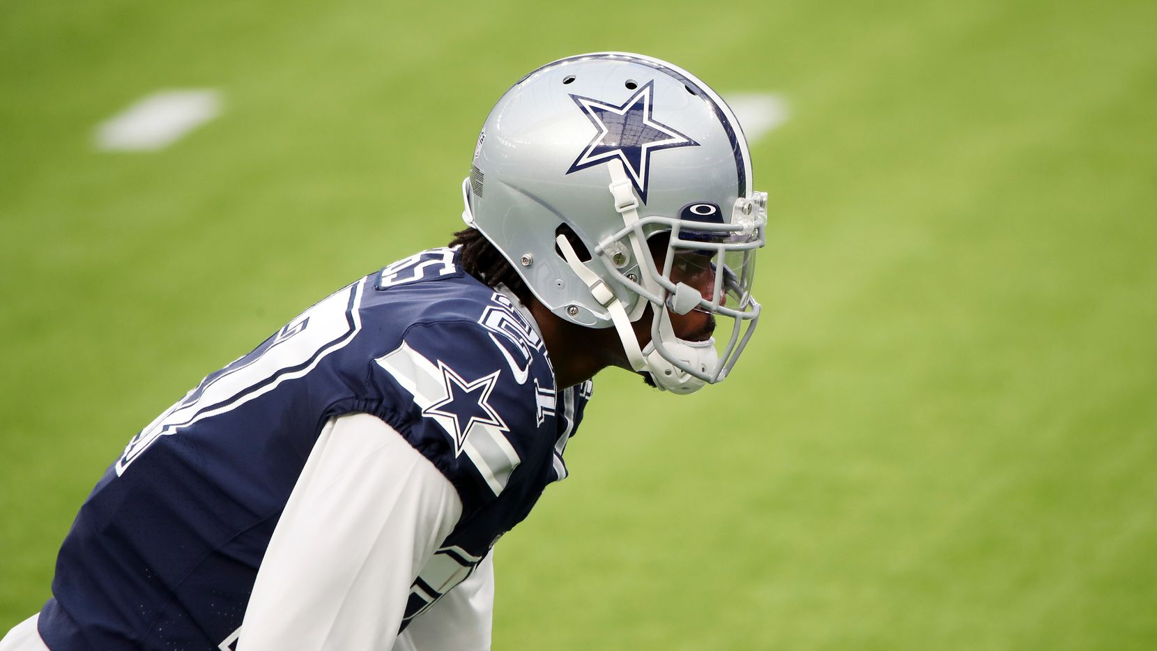 Trevon Diggs #27 of the Dallas Cowboys warms up before the game against the Los Angeles Rams at SoFi Stadium on September 13, 2020 in Inglewood, California.