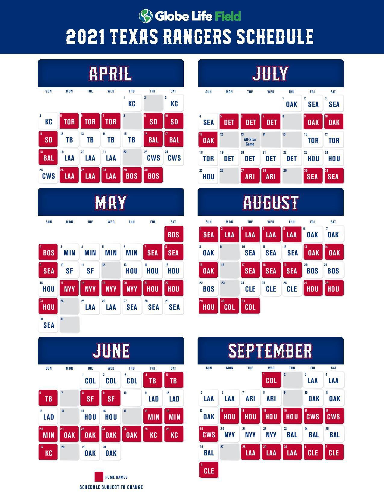 Texas Rangers' 2021 schedule