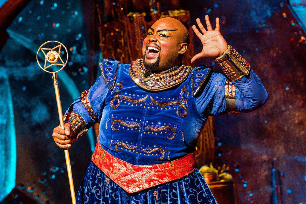 Major Attaway plays the Genie in Aladdin in the Dallas Summer Musicals production being staged at the Music Hall at Fair Park in June.