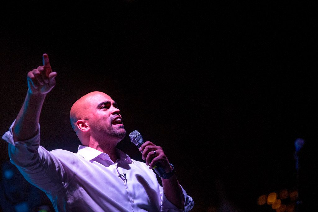 Congressional candidate Colin Allred spoke during The Buffalo Tree Festival at Main Street Garden Park in downtown Dallas on Oct. 7, 2018.
