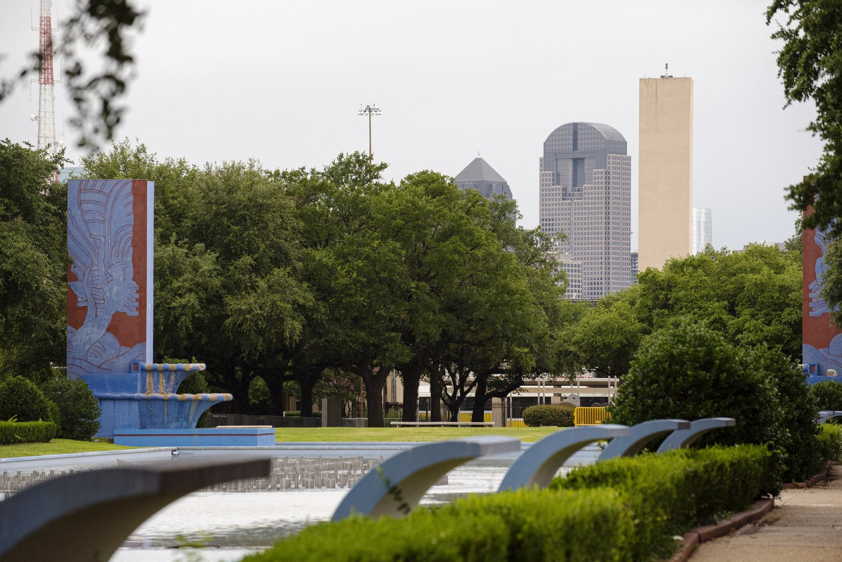 A view of downtown Dallas from the Fair Park Esplanade Sunday.