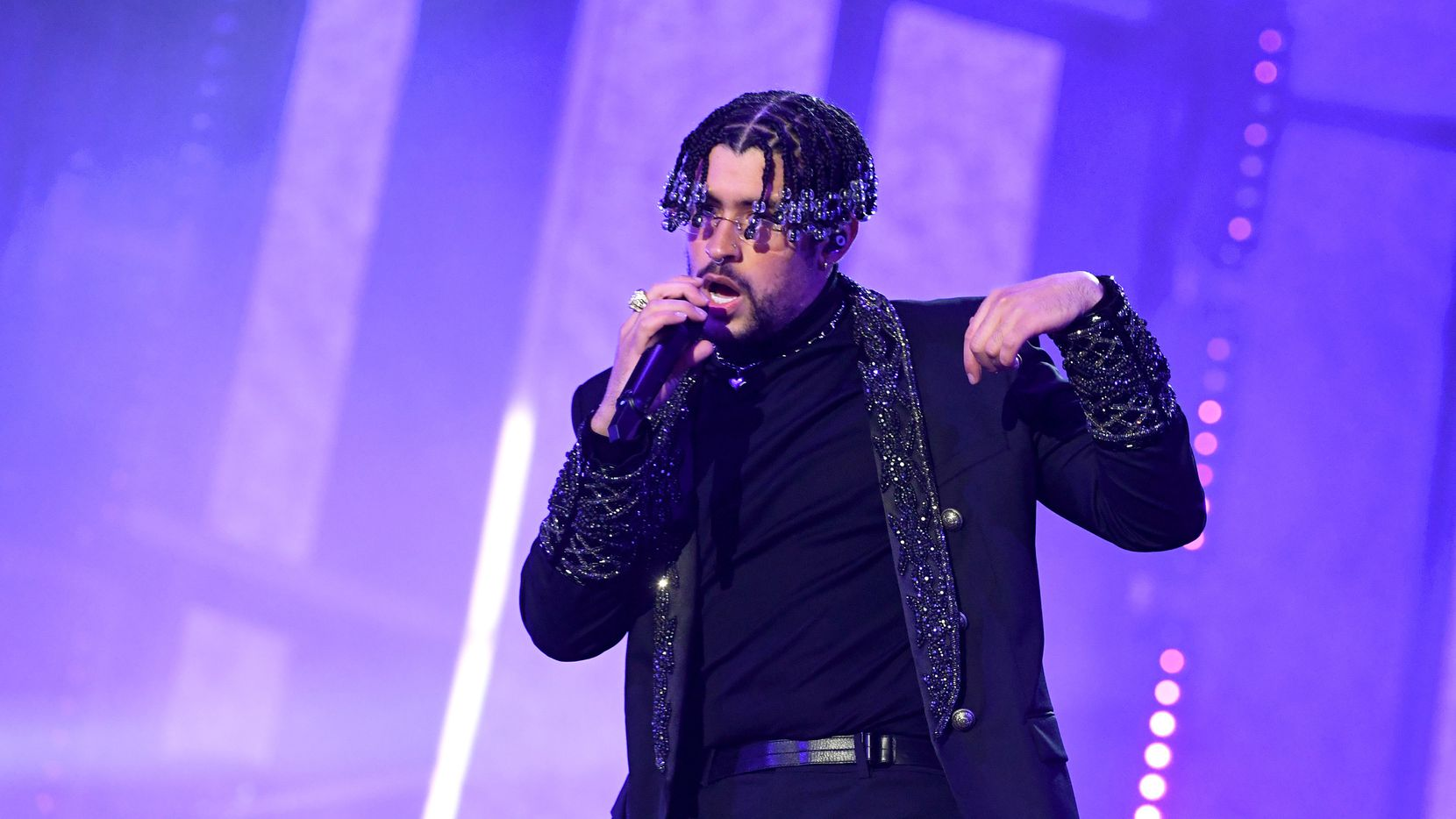 Bad Bunny performs at the 2020 Billboard Music Awards at the Dolby Theatre in Los Angeles.