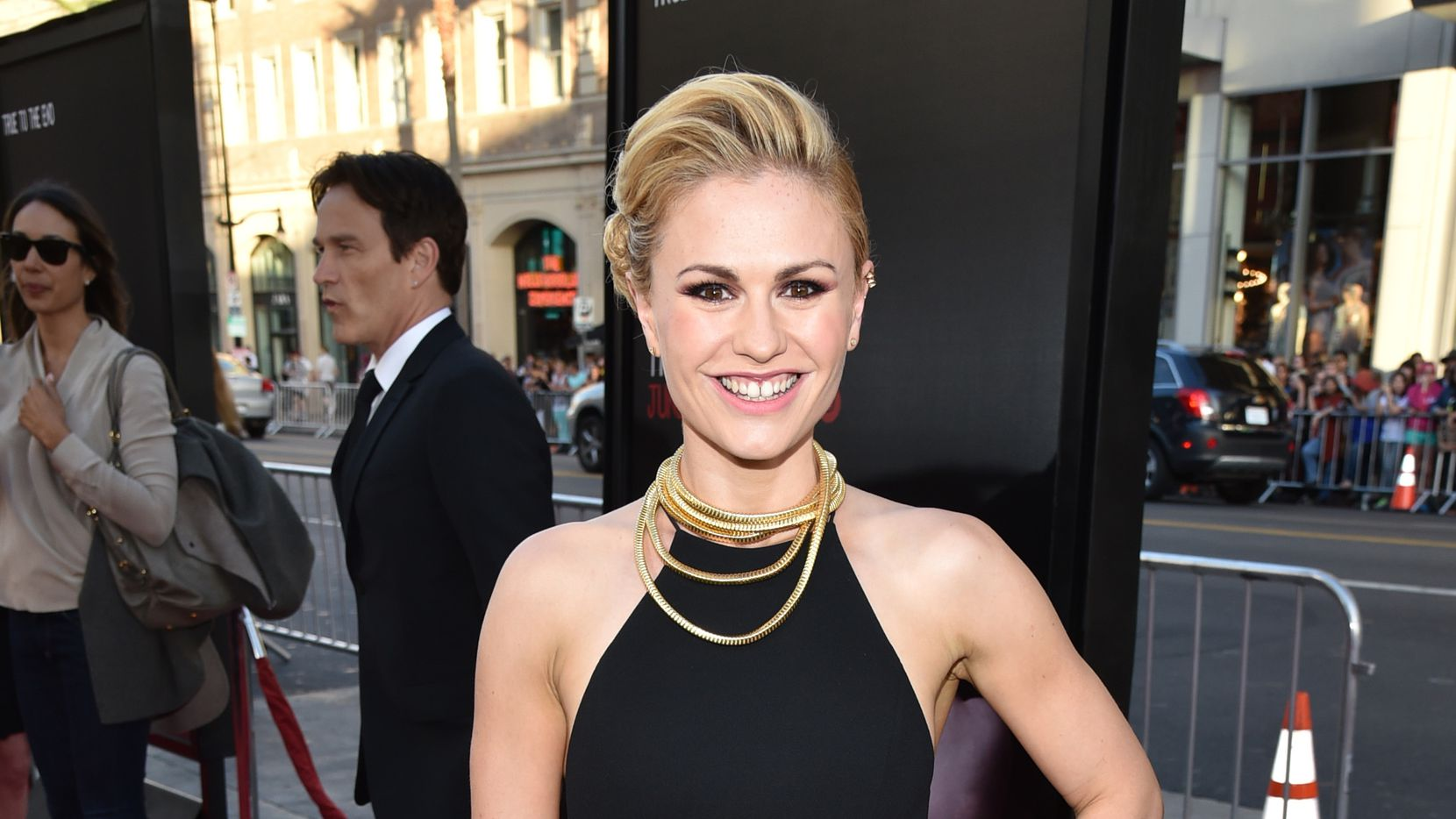 """Anna Paquin arrives at the Los Angeles premiere of the 7th and final season of """"True Blood"""" at the TCL Chinese Theatre on Tuesday, June 17, 2014."""
